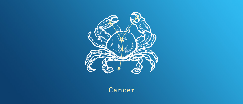 A horoscope cancer sign, which is a crab with stars aligned
