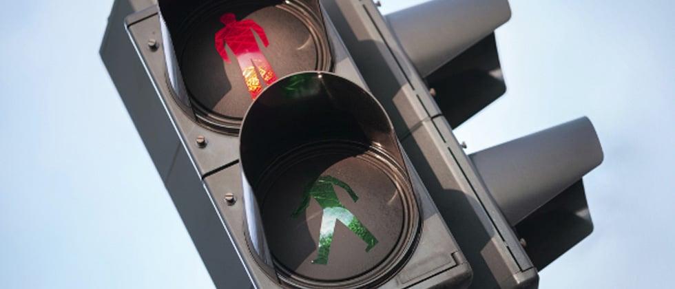 A pedestrian walk symbol showing a no walk sign