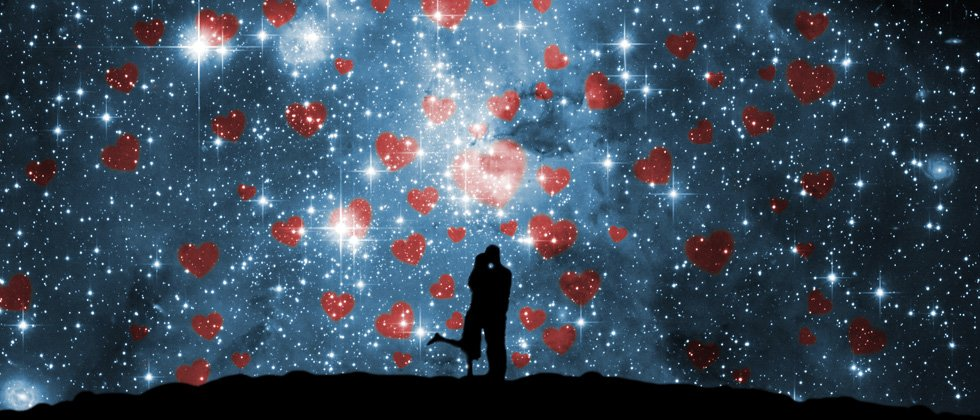A couple sharing a kiss under a starry night with hearts filling the sky